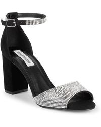 Steve Madden - Mae Chunky Heel Jewelled Leather Sandals - Lyst