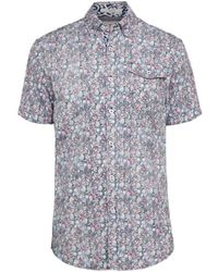 Report Collection Short-sleeve Floral Shirt - Blue