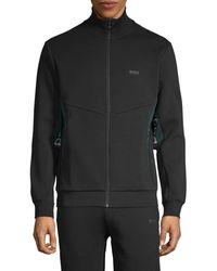 HUGO Full-zip Cotton-blend Track Jacket - Black