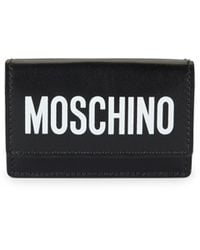 Moschino Logo Tri-fold Leather Wallet - Black