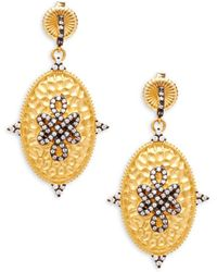 Freida Rothman - Two-tone Sterling Silver Hammered Drop Earrings - Lyst