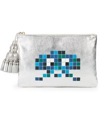 Anya Hindmarch Georgiana Robot Metallic Leather Pouch
