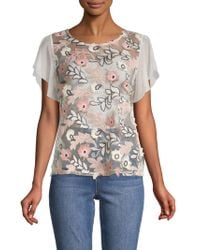 Vince Camuto - Zen Bloom Floral-embroidered Blouse - Lyst