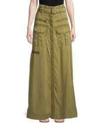 Free People The Feeling Of Falling Long Utility Skirt - Green