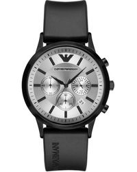 Emporio Armani Renato Rubber-strap Chronograph Watch - Black