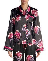 Morgan Lane Ruthie Floral Silk Pajama Top - Black