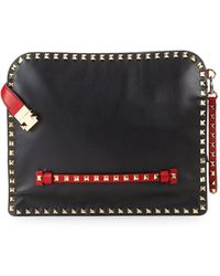 Valentino - Leather Rockstud Document Case - Lyst