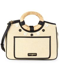 Karl Lagerfeld Tess Straw Satchel - Multicolour