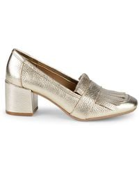 Kenneth Cole Reaction Michelle Kiltie-top Pebbled Loafers - Metallic