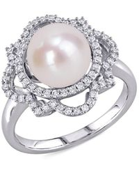 Saks Fifth Avenue Women's 14k White Gold, 9-9.5mm Cultured Freshwater Pearl & Diamond Solitaire Ring/size 8 - Size 8 - Metallic
