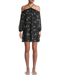 English Factory - Floral-print Cold-shoulder Mini Dress - Lyst
