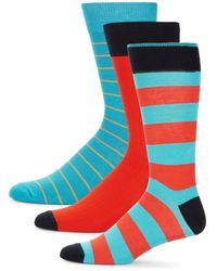 Saks Fifth Avenue 3-pack Multicolour Crew Socks - Blue