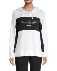 Karl Lagerfeld Colorblock Logo Hoodie - Black