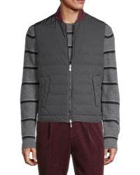 Brunello Cucinelli Men's Reversible Baseball-collar Vest - Charcoal - Size M - Gray
