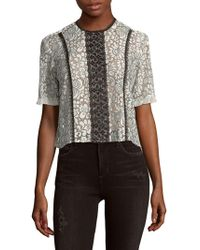 Nanette Lepore - Ruffle Sleeve Lace Top - Lyst