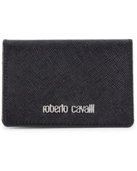 Roberto Cavalli Men's Logo Leather Wallet - Black