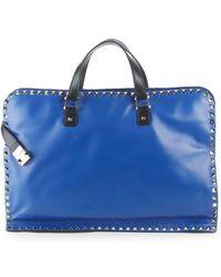 Valentino Zip Leather Briefcase - Blue