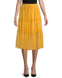 Wdny Tiered Tie-waist Skirt - Yellow