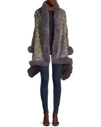 La Fiorentina Animal-pattern Fox Fur-trim Cashmere Wrap - Grey