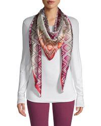 Missoni Jagged Diamond Print Triangular Silk Scarf - Pink