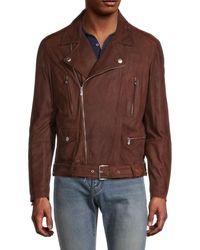 Brunello Cucinelli Men's Suede Moto Jacket - Brown - Size M