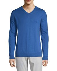 HUGO V-neck Cotton & Wool Jumper - Blue