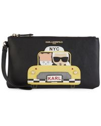 Karl Lagerfeld Women's Faux Pearl Embellished Taxi Graphic Wristlet - Black