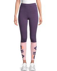 Fila Colorblock Stretch-cotton Leggings - Purple