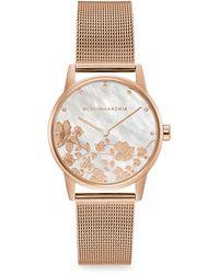 BCBGMAXAZRIA Classic Rose Goldtone Floral Stainless Steel Mesh Bracelet Watch - Metallic