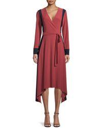 BCBGMAXAZRIA Rosewood Faux Wrap Dress - Red