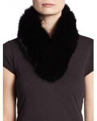Saks Fifth Avenue Black - Fox Fur Collar - Lyst
