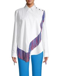 CALVIN KLEIN 205W39NYC Fringe-trimmed Cotton Top - White
