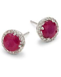 Effy 14k White Gold, Ruby & Diamond Earrings - Multicolor