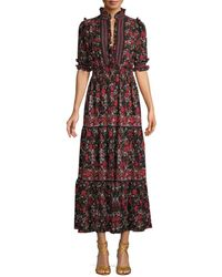 Max Studio Women's Floral Midi Dress - Black Floral - Size M