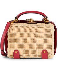 Etienne Aigner Small Charlotte Leather-trimmed Wicker Crossbody Box Bag - Multicolour