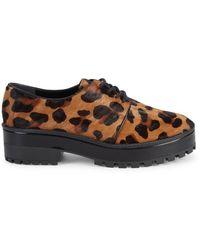 Schutz Shemla Cheetah-print Leather & Calf Hair Derbys - Natural