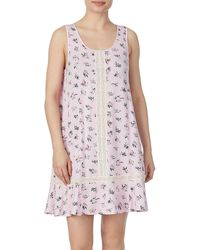 Kate Spade Lace-insert Floral A-line Chemise - Pink