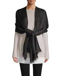 Saks Fifth Avenue Women's Shimmer Frayed Wrap - Ivory - White