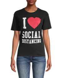 David Lerner Women's Printed Cotton Tee - Washed My Hands - Size Xs - Black