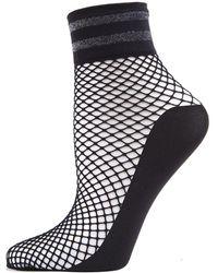 Memoi - Metallic Stripe Fishnet Ankle Socks - Lyst