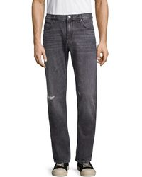 HUGO Men's Slim-fit Distressed Jeans - Charcoal - Size 29 32 - Gray