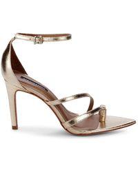 BCBGMAXAZRIA Women's Amelia Metallic Leather Strappy Sandals - Gold - Size 6