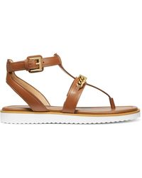 MICHAEL Michael Kors Farrow Leather Thong Sandals - Brown