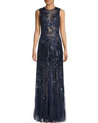 Basix Black Label Sleeveless Sheer Sequin Gown - Blue