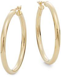 "Saks Fifth Avenue 14k Yellow Gold Hoop Earrings/1.2"" - Metallic"