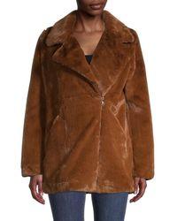 Apparis Rose Faux Fur Zip-front Coat - Brown