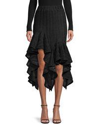 Romance Was Born Pleated Ruffle Handkerchief Hem Midi Skirt - Black