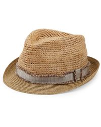 Saks Fifth Avenue Collection Frayed Band Raffia Hat - Natural