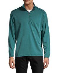Tommy Bahama Men's Regular Fit Quarter Zip Sweater - Seaway - Size L - Green