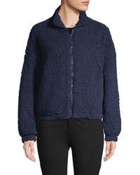 C&C California Women's Faux Shearling Front-zip Jacket - Navy - Size M - Blue
